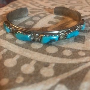 Jewelry - Vintage SS/turquoise Native American Vintage cuff